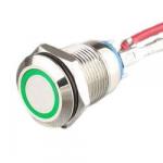 Кнопка антивандальна LA128-12A D=12mm 6V зелена