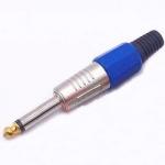 Штекер на кабель 6.3мм 2-pin моно синій